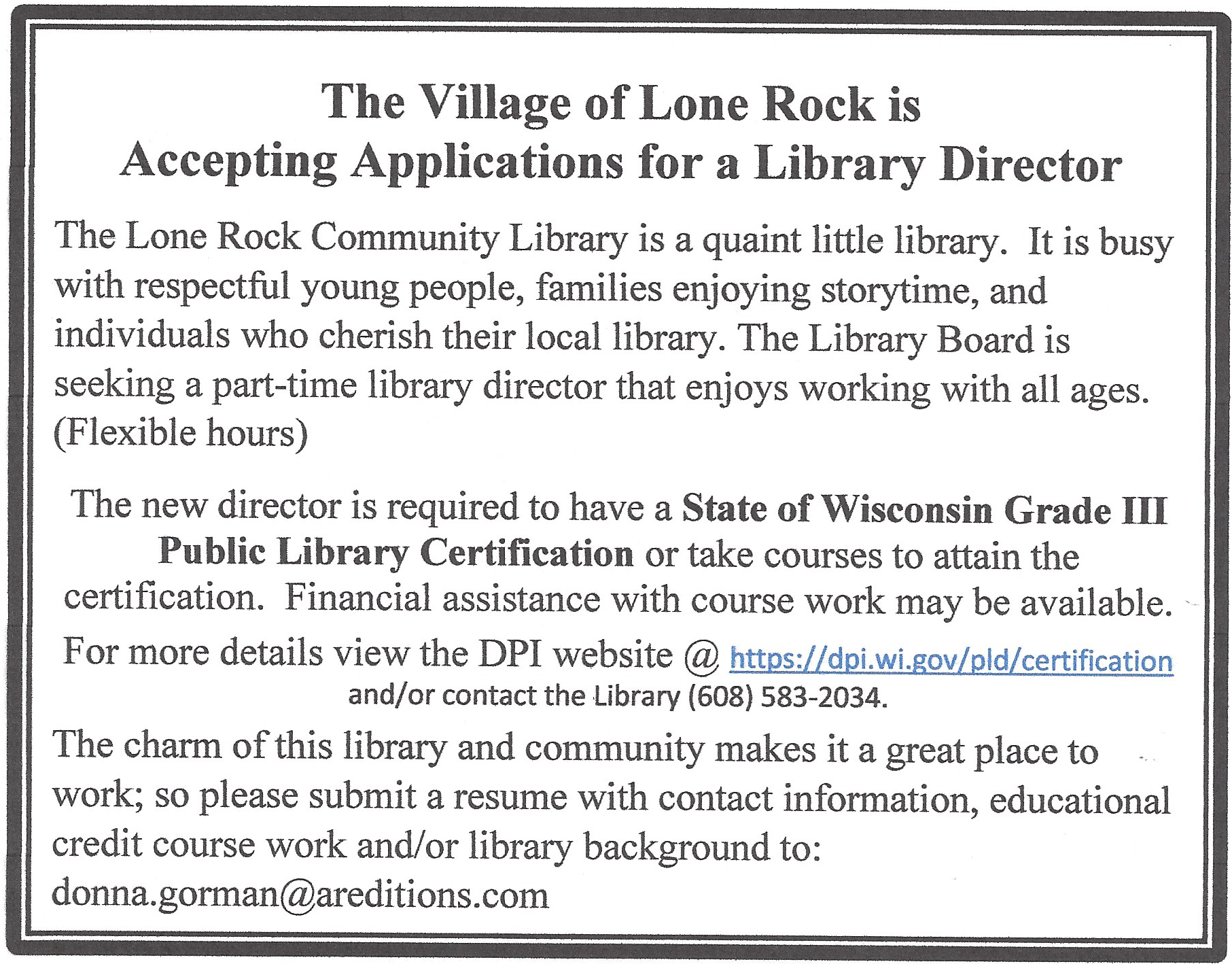 Image of advertisement for library director position at Lone Rock Community Library